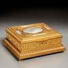 French mother-of-pearl inlaid bronze music box