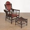 Hunzinger style reclining chair with Thebes stool