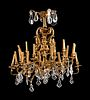 A Louis XV Style Gilt-Bronze and Glass Twenty-Four-Light Chandelier Height 36 x diameter 35 inches.