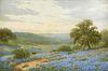 "PORFIRIO SALINAS (American/Texas 1910-1973) A PAINTING, ""Bluebonnets at Dawn and the Violet Crown Hills,"" CIRCA 1951,"
