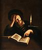 """attributed to TROPHIME BIGOT (French 1579-1650) A PAINTING, """"The Artist Studying by Candlelight,"""""""