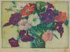 MARGARET JORDAN PATTERSON, (American, 1867-1950), Petunias, woodblock print, image: 7 1/4 x 10 in., frame: 15 1/4 x 19 1/4 in.