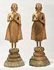 Pair Southeast Asian Gilt Bronze Buddha Figures