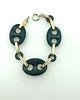 Art Deco 14K Yellow Gold & Onyx Bracelet