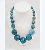 Kenneth J. Lane Bezel Cut Glass Bead Necklace
