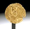 Egyptian 18K+ Gold Applique Depicting a Pharaoh