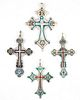 Four Russian Enamel and Silver Orthodox Cross Pendants, Moscow, c. 1900, Largest- H.- 2 3/4 in., W.- 1 3/4 in. (4 Pcs.)