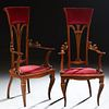 Pair of French Carved Walnut Tallback Armchairs, 20th c