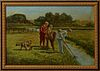 """Cornelis Koppenol (1865-1946), """"Boys Fishing in a Ditch,"""" early 20th c., oil on panel, signed lower left, presented in a gilt and po..."""
