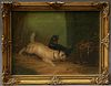 """T. Langlois, """"Dogs Chasing a Rat,"""" 19th c., oil on canvas, signed lower left, presented in a gilt and gesso frame, H.- 5 3/4 in., W...."""