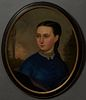 """English School, """"Portrait of a Lady with a Lace Collar,"""" 19th c., oval oil on canvas, presented in an ebonized and gilt frame, H.- 2..."""