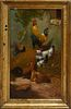 """H. Schouten (1857-1927), """"Chickens in the Farmyard,"""" 19th c., oil on board, presented in a period gilt and gesso frame, H.- 15 in.,..."""