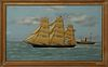 """Thomas H. Willis (1850-1925, English), """"Ship's Diorama of the Robin Hood,"""" 19th c., of a three masted schooner, cloth and oil on can..."""
