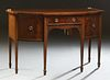English Banded and Inlaid Mahogany Hepplewhite Style Demilune Sideboard, c. 1910, with a center frieze drawer flanked by two convex...