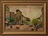"Antal Jancsek (1907-1985, Hungarian), ""Paris Street Scene,"" 20th c., oil on canvas, signed lower right, presented in a carved giltwo..."