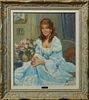 """Yves Diey (1892-1984, French), """"Portrait of Ann Margaret,"""" 20th c., oil on canvas, signed lower right, presented in a gilt and polyc..."""