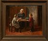 """Hendricus Antonius Dievenbach (1872-1946, Dutch), """"At the Kitchen Table,"""" 19th c., oil on canvas, signed lower right, presented in a..."""