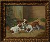 "J. Colin (1881-1961, Dutch), ""Puppies at Play,"" 20th c., oil on canvas, signed lower right, presented in a relief gilt and gesso fra..."