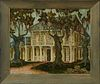 """Joyce Seely, """"Louisiana Plantation House,"""" 1963, oil on canvas, signed lower right and verso, presented in a wide polychromed frame,..."""
