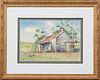 """Edna Janssen (Louisiana), """"Two Boys in Front of a Cabin,"""" 20th c., watercolor, signed lower right, presented in a gilt and gesso fra..."""