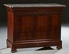 French Louis Philippe Marble Top Commode, mid 19th c., the highly figured reeded edge rounded corner top over a cavetto frieze drawe...