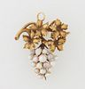 Late Victorian 18K Yellow Gold Brooch/Pendant, c. 1900, mounted with leaves atop a grape cluster of freshwater pearls, H.- 1 3/8 in....