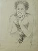 """George Valentine Dureau (1930-2014, New Orleans), """"Portrait of a Seated Afro-American Nude Male,"""" 20th c., charcoal on paper, shrink..."""