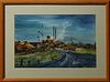 "Jean Williams, ""Sugar Mill,"" 20th c., watercolor, signed lower right, titled verso, presented in a natural oak frame, H.- 14 in., W...."