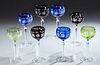 Set of Eight Cut to Clear Crystal Wine Stems, 20th c., three in purple, three blue and two green, H.- 8 1/2 in., Dia.- 3 5/8 in.