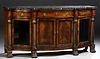 """Large Carved Mahogany Marble Top Sideboard, 20th c., by Henredon, from the """"Natchez"""" collection, the thick serpentine highly figured..."""