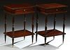 Pair of English Mahogany Nightstands, 20th c., each with a drawer on turned tapered legs joined by a lower stretcher shelf, on taper...