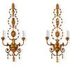 Pair of Carved Giltwood Two Light Sconces