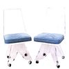 (6 Pc) Lucite Rolling Dining Chairs