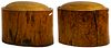 Asian Wood and Rattan Upholstered Stools
