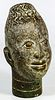 African Nigerian Benin Bronze Oba Head