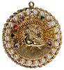 10k Gold, Semi-Precious Gemstone and Pearl Peacock Pendant