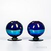 """Two Imperial Art Glass """"Free Hand"""" Iridescent Rose Bowls"""