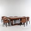 French Art Deco Dining Table and Eight Leather Armchairs
