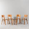Four Alvar Aalto (1898-1976) by Artek L-leg Side Chairs and Stool