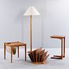 Side Table, End Table with Sling Storage, Magazine Rack, and Lamp