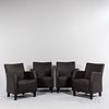 Four Leather Club Chairs