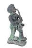 """Cast Iron """"Boy Playing Saxophone"""" Garden Sculpture"""