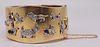 JEWELRY. Art Deco 14kt Gold Charm Cuff Bracelet.