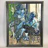Framed Oil on Board Figural Scene