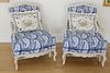 Pair of Holland House White Washed French Style Armchairs