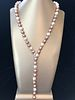 Fine 11mm White & Pink Cultured Pearl Diamond Lariat Necklace
