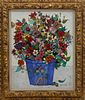 """John Powell Oil on Canvas """"Dramatic Floral Still Life in Blue Terracotta Planter"""""""