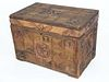 American Profusely Carved Pine and Split Bamboo Hinged Top Box, 19th century