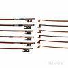 Six Nickel-mounted Violin Bows