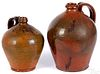 Two redware jugs